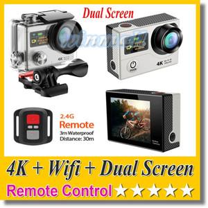 Original EKEN H3R 4K Action Camera + Wifi + 2.4G Control remoto Dual Screen Hero 4 Estilo 30M Impermeable DV DVR Videocámara