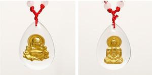 Guanyin Maitreya incrusté de jade blanc de jade Pendentif en or avec pendentif collier fille ange Jinmao A2
