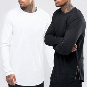 New Hip Hop Mens T Shirt Basic Longline Zipper Designer manica lunga O-Collo Solid T Shirt uomo Curve Hem Side Zip Tops tee