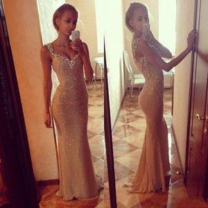 Sparkly Luz Da Menina de Ouro Prom Vestidos de Cristal Frisado Com Strass Querida Até O Chão Sexy Bainha Vestido de Noite Tecido Bling Barato