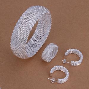 Alto grado de 925 conjuntos de nido de abeja de plata joyería fija marca DFMSS301 anillo pendiente directa venta 925 pulsera de plata nueva fábrica