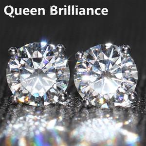 Genuine14K 585 Tornillo de oro blanco Volver 2 quilates ctw F Prueba de color Positivo Lab Grown Moissanite Pendientes de diamantes para mujeres q171026