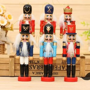 12 cm Nutcracker Made Wood Enfeites De Natal Puro Manual Coloridos Desenho Nozes Soldados 12 pçs / lote Presente criativo