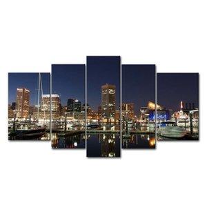Peinture moderne 5 panneaux Baltimore Harbour Night View Paysage Wall Art Peinture Ville La photo sur toile Imprimer Home Decor
