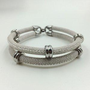 New Arrivial Beliebte Verkauf Nord Skull Armband In Silber Mit Künstlichen Stingray Haut Leder Armband