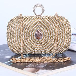 Fábrica directa / Retaill / Bolso de noche de diamantes único hecho a mano al por mayor / embrague con satén / PU para bodas / banquetes / fiestas / porm