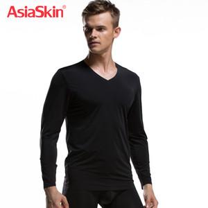 2017 Mode Sous-Vêtements Hommes Long Johns Top Thermique Col En V Coton Spandex Marque Vêtements Ice Soie Top Élégant Asiaskin