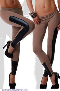 Calças Contraste esporte para as mulheres Side Faux Couro Guarnição Preta Stretch fitness Leggings magro jegging LC79538 dear-lover