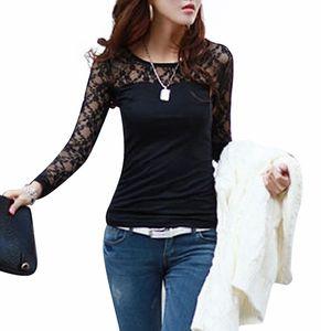 الجملة- blusas femininas 2015 ربيع الخريف إمرأة أزياء مثير ضئيلة قميص قمم الدانتيل كم طويل س الرقبة الترفيه بلوزة أسود / أبيض S-2XL