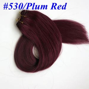 Top Quality 100% cabelo Humano tece feixes de cabelo em linha reta 100g 22 polegadas # 530 / Plat tramas do cabelo Vermelho Extensões de cabelo Indiano brasileiro