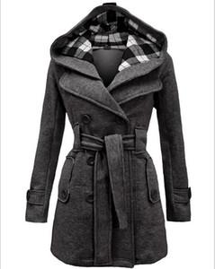 Neue Frauen Mäntel 2015 Europa Station Damenmode Schlank Zweireiher Mantel Lange Kapuze mit Gürtel Winter Baumwolle Mäntel für Frauen