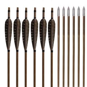 """꿩 깃털 대나무 샤프트 32 """"사냥 화살표 양궁 연습 리 커브 활 또는 장궁에 대 한 은색 철강 Broadhead"""