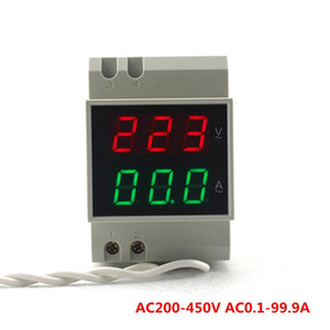 AC 200-450 V 100A Din Raylı Voltmetre Ampermetre Kırmızı-Yeşil LED Ekran Rengi