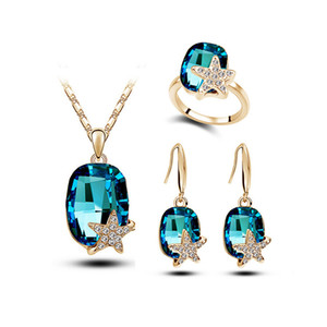 Elegante Frauen Schmuck Set Strass Stern Ohrringe Halskette Ringe Sets für Hochzeit Brautjungfer Schmuck Sets Online G227