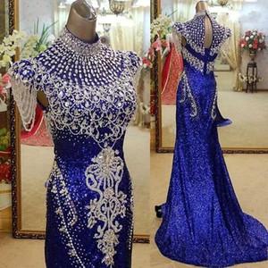 2020 Bling Royal Blue High Neck 인어 이브닝 드레스 파티 우아한 크리스탈 Sequined 실제 사진 레드 카펫 연예인 공식 가운