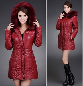 All'ingrosso-Nuovo Plus Size Donne Pu Leather Jacket Ladies Qualità Moda Chaquetas Mujer Cuero imbottito Long Casaco Feminino Inverno