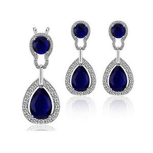 Austria Crystal Circle Necklace Aretes Sets Full Diamond Jewelry set para mujeres conjuntos de joyas de dama de honor 8161