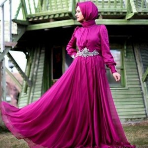 Fuchsia Chiffon Long Sleeve Muslim Evening Dress With Hijab Beaded Sashes Dubai Kaftan Online-Clothing-Shopping Formal Party Prom Dresses