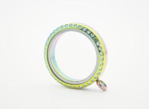 Colgante flotante iridiscente del Locket de la memoria del vidrio del arco iris del arco iris de la CZ del acero inoxidable Iridiscente colgante con el cristal