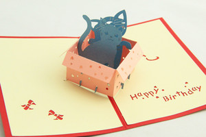 Greenfox Birthday card little cat box Invitations Delicacy Gift Handmade Creative 3D Cards Pop UP Gift Free Shipping 3DHK035