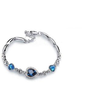 Hot Charme Pulseiras Amor Coração de Oceano diamante de Cristal De zircão Moda Charme Pulseira De Cristal Jóias Com Diamantes Presente de Aniversário Meninas Austríacas