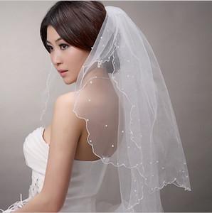 2015 Yeni Gelin Düğün Peçe Kısa iki katmanlı düğün peçe 1.3 * 1.3 m gelin inci peçe yumuşak düğün aksesuarları