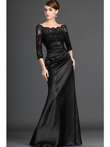 2016 Hot Sale Fashion New Arrival Charming Free Shipping A-Line Off-the-shoulder 3 4 Sleeves Elastic Woven Satin Black Evening Dresses