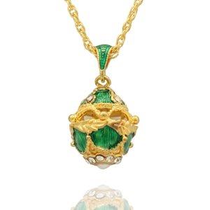 Handgefertigte Emaille Halskette Ei-Charme für Ei-Art Faberge russische Gold überzogen mit der Mode europäischen Für Anhänger Nqguc