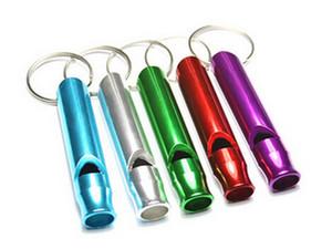 مصغرة بقاء مفتاح سلسلة التخييم المشي الطوارئ الصافرة الألومنيوم صافرة الكلاب للتدريب مع المفاتيح