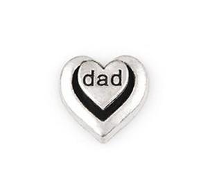 20 Adet / grup Gümüş Renk Baba Kelime Mektubu Charm, DIY Kalp Yüzer Locket Charms Cam Yaşam Yüzer Locket Için Fit