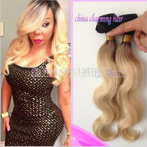 Dark root 1b 613 ombre two tone color body wave brazilian weave virgin human hair blonde ombre wavy bundles extensions 3pcs lot freeshipping