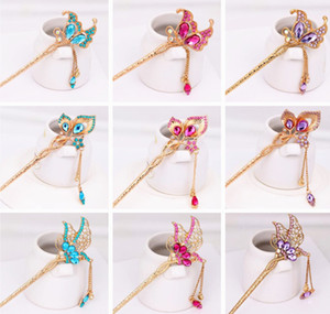 Diseño chino Vintage horquilla chapado en oro Crystal Butterfly Hair Sticks tocados nupciales de la joyería de la boda pernos de pelo