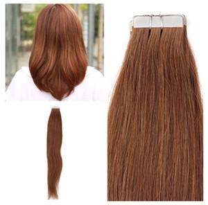 Индийские человеческие волосы 12-26inch PU лента на наращивание волос 2.5 g / штук, шелковые прямые волны 4 цветов для выбора, бесплатная доставка