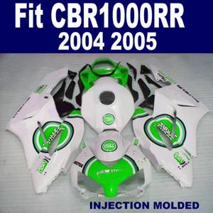 Top quality fairing body kit for HONDA Injection mold CBR1000 RR 04 05 green white LUCKY STRIKE fairings set 2004 2005 CBR1000RR XB67