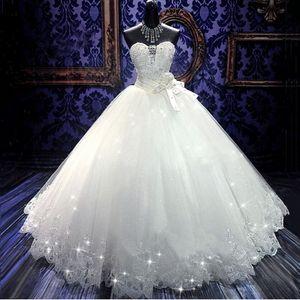 Alta Qualidade Real Foto Bling Bling Cristal Vestidos de Noiva Bandagem Voltar Apliques de Tule Até O Chão vestido de Baile Vestidos de Casamento