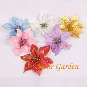 Wholesale Retail 6 Colors 13cm Glitter Side Christmas Flower Head Artificial Fake poinsettia Decorations For Christmas Festival Supply