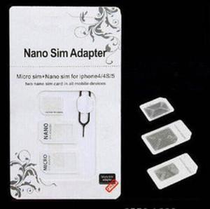 2019 NOOSY NANO MICRO SIM Standard Convertion Converter4 dans 1 Nano SIM Adaptateur Micro Sim Card pour iPhone 6 Plus Tous les appareils mobiles S10