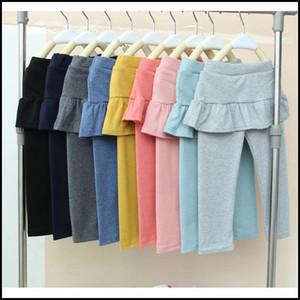 20015 Kızlar 9 renkler tayt çocuklar kız lotus saf pamuk kore moda tayt bebek etek pantolon dış giyim J092404 # DHL Büyük