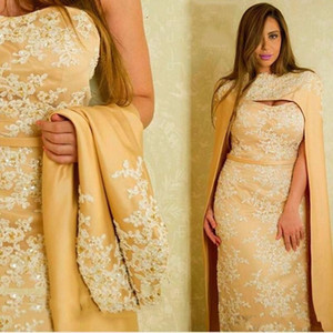 2018 Daffodil Mermaid Vestidos de noche Sweetheart White Lace Applique Beads Crystal With Cape Robe Arabic Celebrity Cocktail Party Prom Vestidos