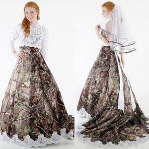 2019 겸손 Camo 웨딩 드레스 분리형 랩 롱 슬리브 라인 포레스트 플러스 크기 아랍어 레이스 웨딩 드레스