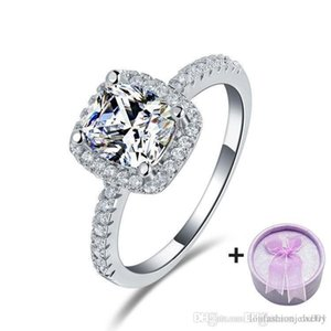 Discount Sales Fashion Cubic Zirconia Rings Engagement Bridal Set Cheap couple rin Hot Selling Online Sale Cusion-cut Shaped Rings for Women
