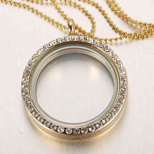Limited Discount!30mm Round magnetic glass floating charm locket Zinc Alloy with Rhinestone