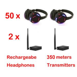 Silent Disco Kopfhörer x 50 mit 2 Kanälen Bargain Wireless System - RF Wireless für iPod MP3 DJ Musik