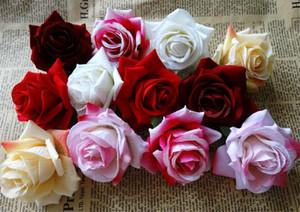 """Tek Kadife Gül Çiçek Başlığı 6.5 cm / 2.56 """"Yapay Çiçekler DIY Korsaj Garland Buket Düğün için Çiçekler Altıgenler Gül Çiçekler"""