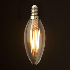 2W 4W 6W C35 Lâmpada de vela de incandescência LED Lâmpada Decorativa Retrorreflectora E12 E14 base 110V 220VAC lustre branco fresco e quente Dimmable