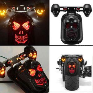 할리 혼다에 대 한 빛 오토바이를 실행하는 12v ABS 크롬 블랙 해골 해골 스타일 LED 꼬리 후면 브레이크