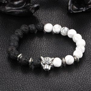 Fatto a mano di lava naturale fascino pietra braccialetto di perle di yoga agata turchese lapis tratto pietra filoni leoni leopardi testa bracciale estensibile