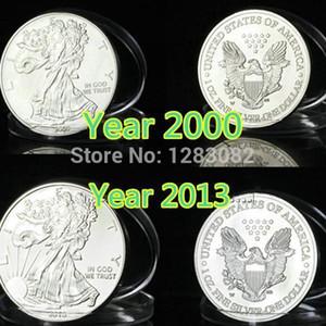 Mix 2 design, ordre d'échantillon 6pcs / lot, 1oz en laiton argent non magentic année 20002013 américain liberty eagle silver pièce Livraison gratuite