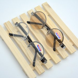Al por mayor-libre del envío medio marco de lectura Presbyopic Glasses Eyeglass Brown Classic Vintage gafas de sol redondas de la lente +3.00 +300 86