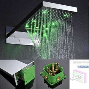 22 Inch Bathroom Rainfall+Waterfall Douche Rain Shower heads 304 Stainlesssteel Square Rain Showerhead Wallmount 2 Function Led Shower Heads